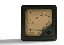 1964 50 amp ammeter. Old ammeter made in the USSR on a white background.
