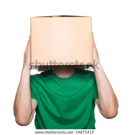 An anonymous man with a box on his head concealing his identity I