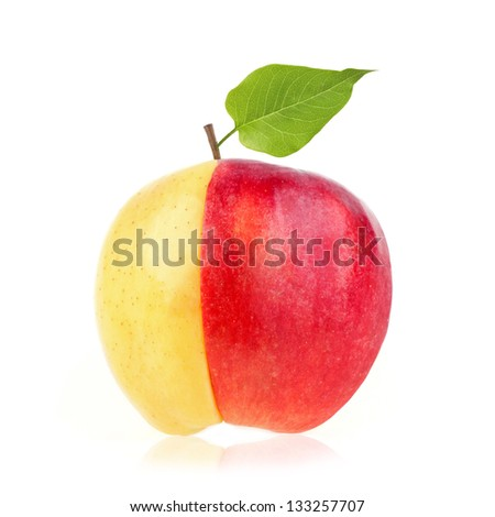 An apple made up of half yellow, half red