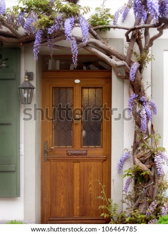an architectural detail of a rustic door