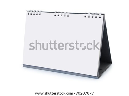 an empty desk calendar isolated on white background
