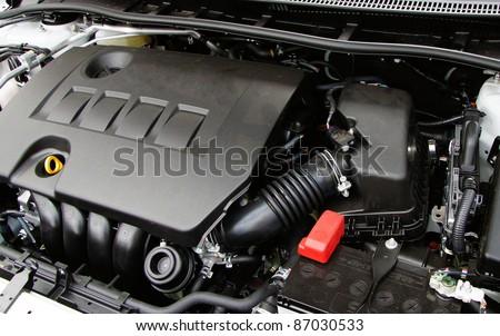 An engine of a modern car.