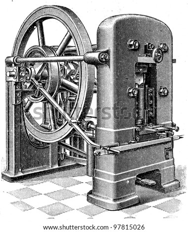 """- an illustration for article """"Equipment for the production of coins"""" of the encyclopedia publishers Education, St. Petersburg, Russian Empire, 1896 - stock photo"""