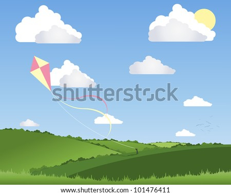 an illustration of a person flying a colorful kite in a beautiful summer landscape with white fluffy clouds and a blue sky