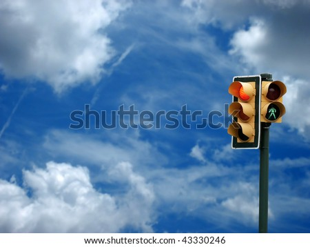 an image of traffic lights while red light on