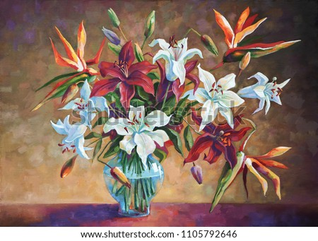An oil painting on canvas. Strelitzia among the lilies. Artistic work in bright and juicy tones. Author: Nikolay Sivenkov.