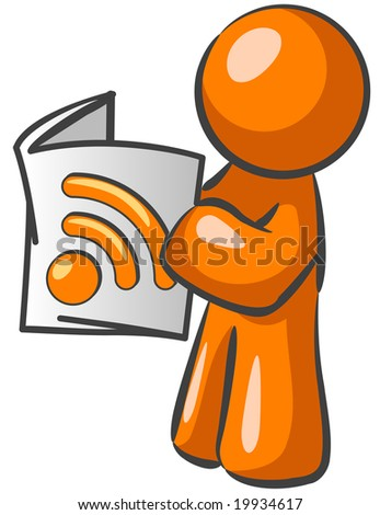 An orange man reading a newspaper with an RSS symbol. Good news feed concept.