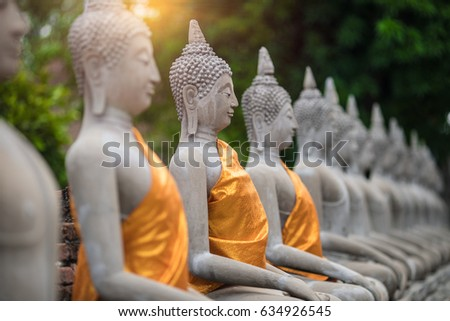 Ancient Buddha Statue at WAT YAI CHAI MONGKOL, The Historic City of Ayutthaya, Thailand,/select focus point. - Shutterstock ID 634926545