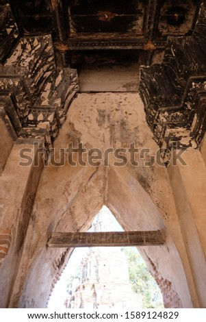 2019 - Ancient  Mural painting at Wat Chaiwatthanaram at Ayutthaya historical park with ancient Archaeolical architecture Thailand