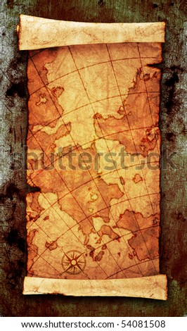 ancient scroll map, on grunge wall