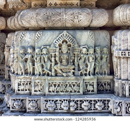 Ancient Sun Temple in Ranakpur. Jain Temple Carving.  Ranakpur, Rajasthan, Pali District, Udaipur, India. Asia.