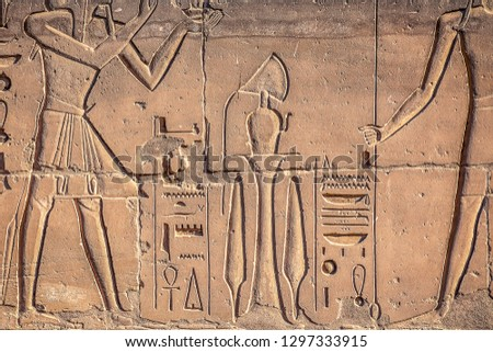 ancient symbols of ancient Egypt on the walls of tombs in the royal city of Luxor