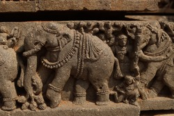 ancient times intricated stone carving of somnathpura temple