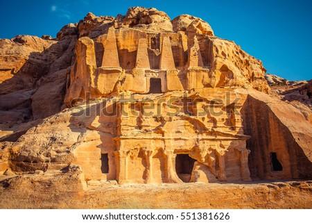 ancient tombs in Petra, Wadi Rum. Jordan