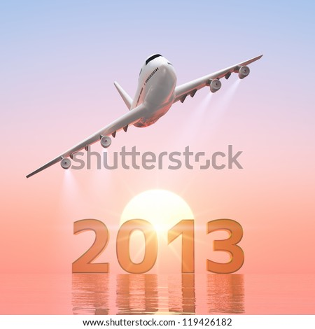 2013 and airplane - stock photo