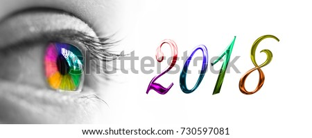 2018 and colorful rainbow eye header, 2018 new year greetings concept
