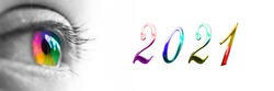2021 and colorful rainbow eye on panoramic white background, 2021 new year greetings