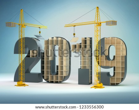 2019 and cranes, 3D illustration