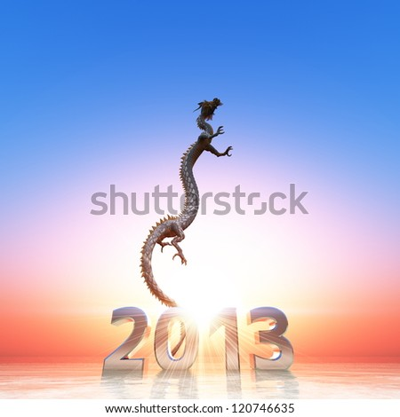 2013 and dragon - stock photo