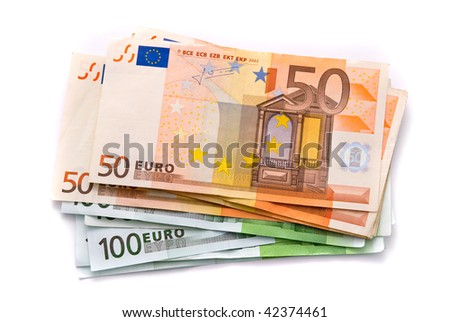100 and 50 Euro banknotes isolated on a white with soft shadows