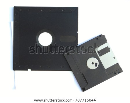 3 5 and 5 25 inch Floppy disk placed side by side flip isolated on white background