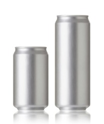 330 and 500 ml. aluminum cans, Realistic photo image. Blank can with copy space, ideal for beer, lager, alcohol, soft drink, soda, lemonade, cola, energy drink, juice, water etc.