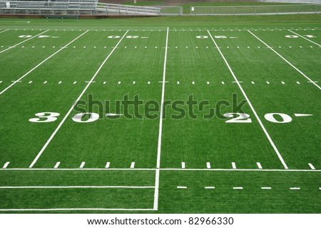 20 and 30 Yard Line on American Football Field