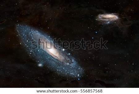 "Andromeda  galaxy against Our galaxy is milky way ( Heic0602a Pinwheel galaxy, Milky Way galaxy  has been amended as) ""Elements of this image furnished by NASA "" #556857568"