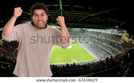 Angry supporter at the soccer stadium