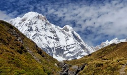Annapurna Sanctuary,mountain landscape with snow,The Annapurna Sanctuary is a high glacial basin lying 40 km directly north of Pokhara.