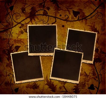antique blank photos on autumnal rusty background- fall season