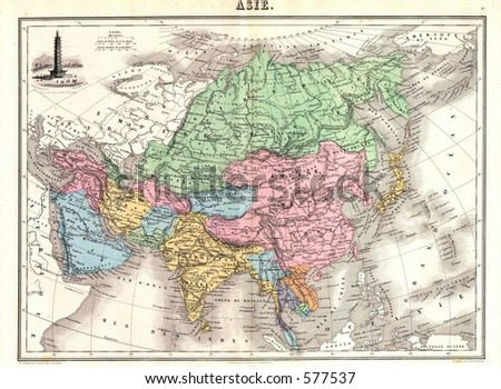 1875 Antique Map Asia
