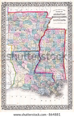 1870 Antique Map of Arkansas Louisiana Mississippi