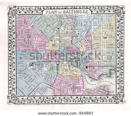 1870 Antique Map of Baltimore - stock photo