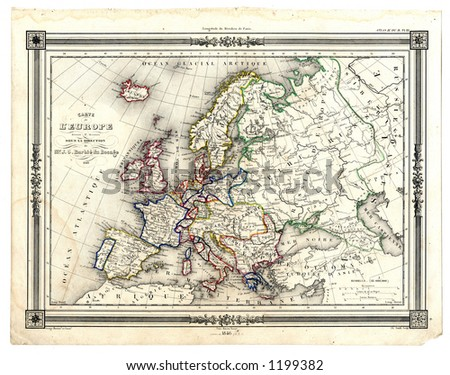 1846 Antique Map of Europe