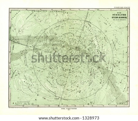 1872 Antique Map of North Sky Star Chart