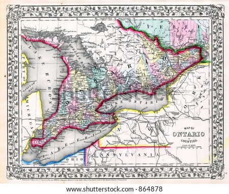 1870 antique map of ontario...
