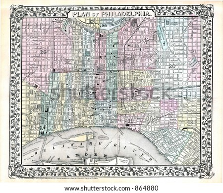 1870 Antique Map of Philadelphia