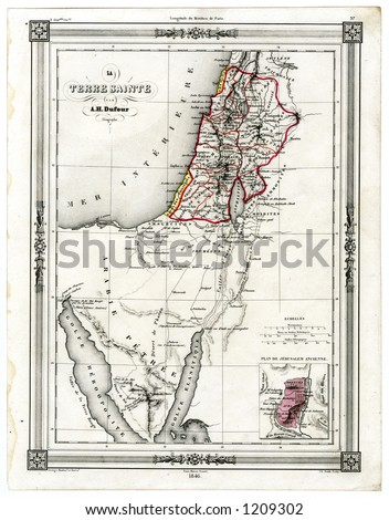 1846 Antique Map of the Holy Land Palestine Israel