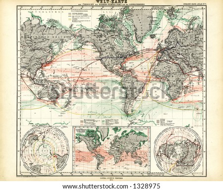1872 Antique Map of World Ocean Currents