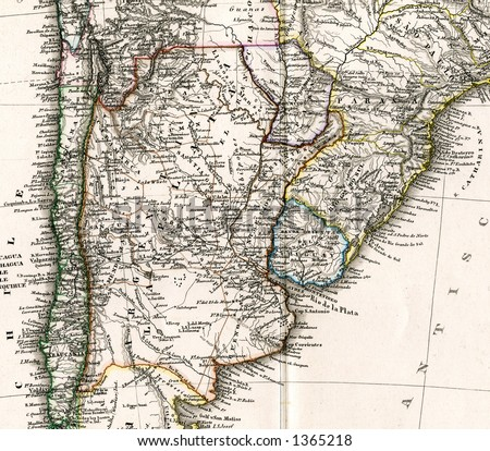 1875 Antique Stieler Map of Argentina Chile Uruguay