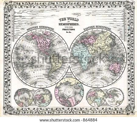 1870 Antique World Map in Hemispheres