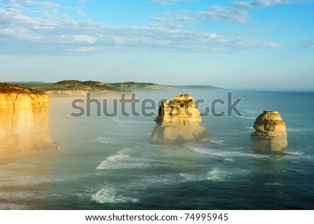12 Apostles, Great Ocean Road, Victoria, Australia, on a bright sunny day