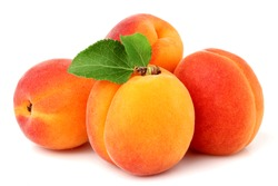 Apricot fruit with leaf isolated on white background.