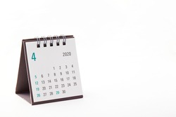 2020 April calendar on white background