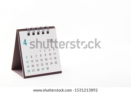 2020 April calendar on white background Photo stock ©