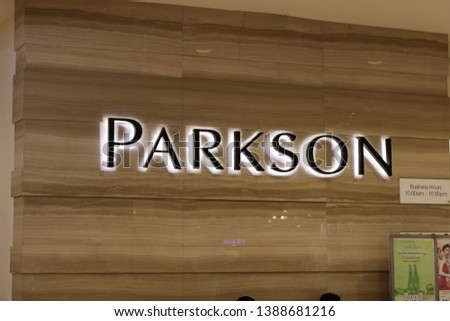 24 April 2019, Medan City, Indonesia-Parkson Department Store is one of the top-class retail players in Southeast Asia. Parkson Department Store has a premium department concept #1388681216