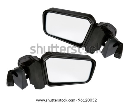 ?ar mirrors isolated on a white background with clipping path. Collage