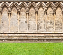 Arched wall of Ely Cathedral, Cambridge UK horizontal seamless pattern