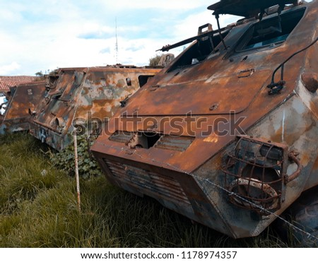 armored vehicle of the abandoned police.